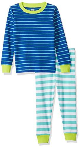 Amazon Essentials Baby Boys Long-Sleeve Tight-Fit 2-Piece Pajama Set, Turquoise/Blue Stripe, 18-24M