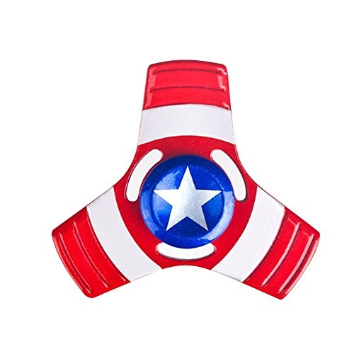 STAR WARS Fidget Spinners, Unique Antique Fidget Spinners - METAL Aluminum Alloy Spinner Toy in Premium Gift Box, Stress Reducer Relieves ADHD, EDC Focus Toy (CAPTAIN AMERICA)