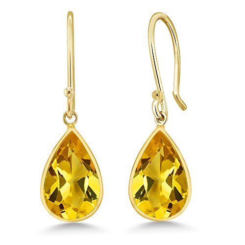 (Gem Stone King 14K Yellow Gold Citrine Pear Shape 8x12mm)