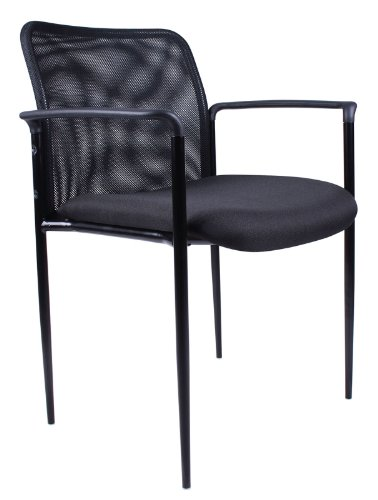 Fabric Comfortable Stackable Steel - Boss Office Products B6909-BK Stackable Mesh Guest Chair in Black