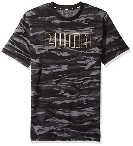 PUMA Men's Camo Logo Tee, Cotton Black/Gold All Over Print L