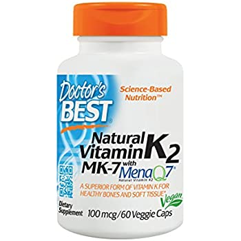 Doctors Best Natural Vitamin K2 MK-7 with MenaQ7, Non-GMO, Vegan, Gluten Free, Soy Free, 100 mcg, 60 Veggie Caps
