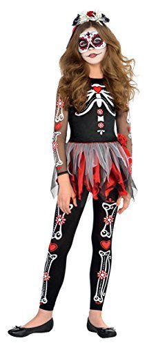 AMSCAN Scared to the Bone Halloween Costume for Girls, Extra Large, with Included -