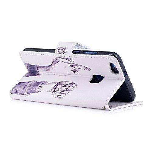 Funda Huawei P10 lite,SainCat Funda de cuero sintético tipo billetera con correa de cordón de Suave PU Carcasa Con Tapa y Cartera,Ranuras para Tarjetas y Billetera Funda de Flip Ranuras Tarjeta Slots  Finger FUCK