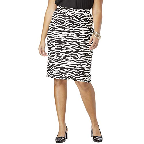 Roamans Women's Plus Size Ultimate Ponte Pencil Skirt - Zebra, 26 W