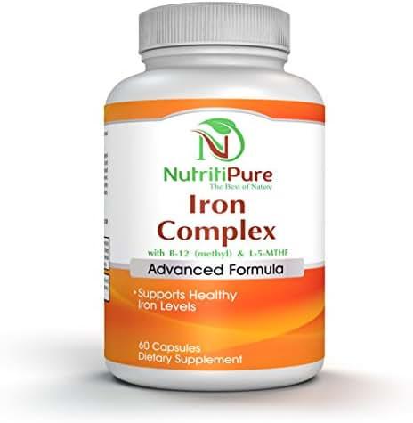 Iron Complex Supplement with Carbonyl Iron 27 mg, Vitamin C, B-6, B-12 (Methyl), L-5-MTHF(Quatrefolic) - 60 Vegetarian/Veggie Capsules