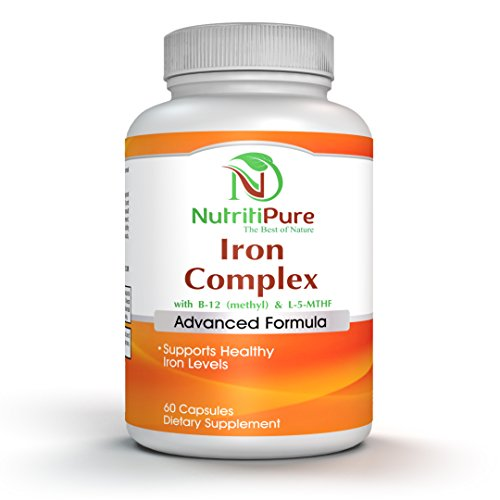 Iron Complex Supplement with Carbonyl Iron 27 mg, Vitamin C, B-6, B-12 (Methyl), L-5-MTHF(Quatrefolic) - 60 Vegetarian/Veggie Capsules