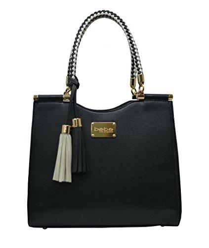Bebe Designer (Bebe Women's Natalie Shopper Handbag Tote Shoulder Bag with Braided Handle (Black))