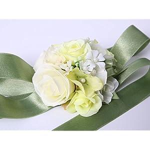 Pretty bridesmaid wrist Corsage Rose Flower Wedding Bridal (Green) 101