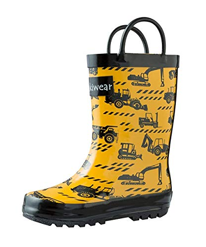 (OAKI Kids Rubber Rain Boots with Easy-On Handles, Construction Vehicles, 11T US Toddler)