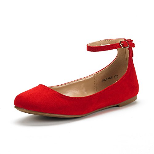 - DREAM PAIRS Women's Sole-Nice Red Suede Ankle Strap Walking Flats Shoes - 12 M US