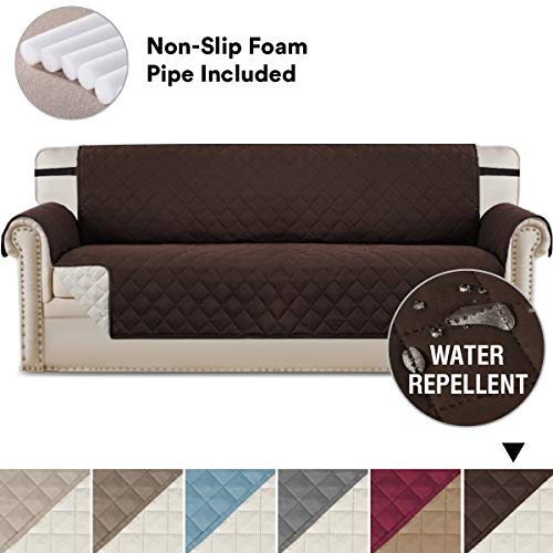 H.VERSAILTEX Reversible Soft and Cotton-Like Finish Crafted Furniture Cover with Elastic Straps, Slip Resistant Oversize Sofa Slipcover Protector, Prevent Stains/Spills Protector ()