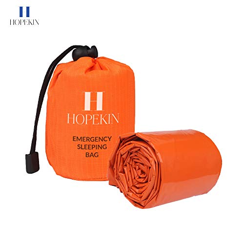 HOPEKIN Compact Mylar Emergency Survival Sleeping Bag | Survival Bivy Sack with Portable Drawstring Bag | 100% Waterproof Ultralight Thermal Emergency Blanket for Body-Heat Reflection (Orange)