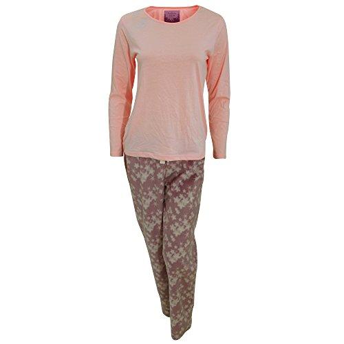 Foxbury - Pijama de manga larga con pantalones de polar estampado para mujer Azul marino/Azul