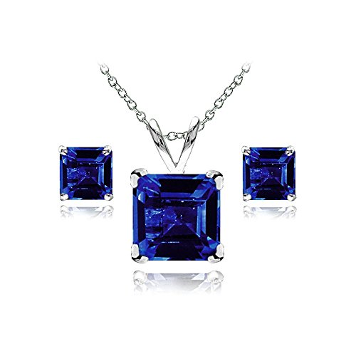 (GemStar USA Sterling Silver Created Blue Sapphire Square Solitaire Necklace and Stud Earrings Set)
