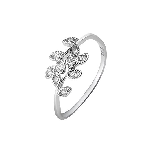 Shape Silver Leaf Sterling - Yan & Lei Sterling Silver Leaf Wrap Ring with CZ Setting Color Silver Size US 7