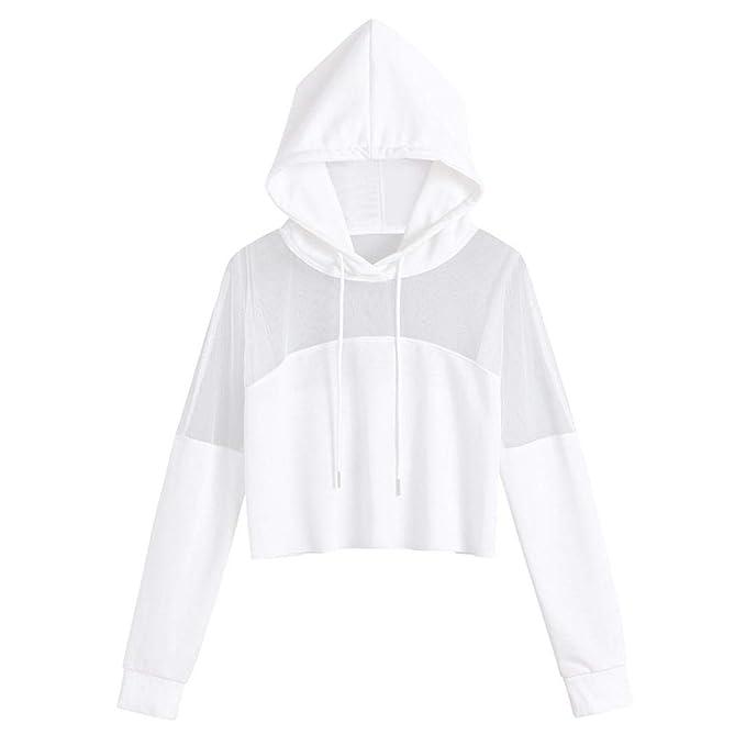 ❤ Sudaderas para Mujer Cortas, Tefamore Sweatshirt Otoño Manga Larga Suelto Hoodies Moda Pullover Camiseta Tops: Amazon.es: Ropa y accesorios