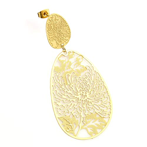 United Elegance - Stunning Gold Tone Earrings with Intricate Cut Out Design (Gold Lace Design)
