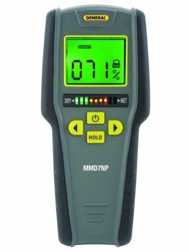 General Tools MMD7NP Pinless, Non-Invasive, Non-Marring, Digital Moisture Meter, Water Leak Detector, Moisture Testerup To ¾