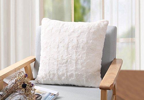 - Elliz Luxury Ivory Roses Faux-Fur Pillow, 18