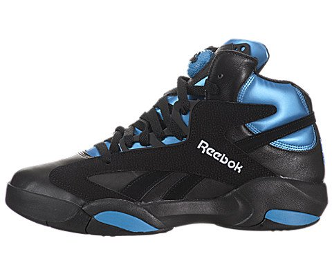 Azure Leather (Reebok Mens Shaq Attaq Black/Azure Leather Size 8.5)