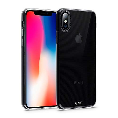 iATO Crystal Clear Case for iPhone X - Transparent Protective Shock Absorption Cover - Soft Flexible Gel Skin - Ultra Slim TPU Snap on Thin Bumper for iPhone X / 10 (2017) | Supports Wireless Charging