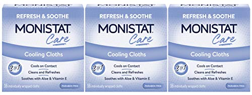 Monistat Care 3-in-1 Cooling Cloths | Cools & Soothes | Paraben Free | 16 Count | Pack of 3 | Packaging May Vary