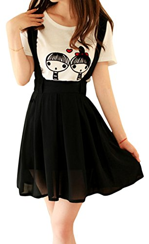 Womens Casual Loose Fit Long Preppy Bouffancy Chiffon Gallus Short Skirt Black One Size Black One Size