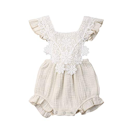 Tronet Newborn Infant Baby Girl Lace Floral Romper Bodysuit Sleeeless Clothes Outfits Beige