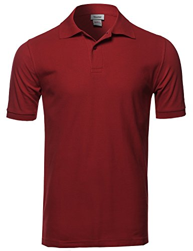 (Youstar Solid Short Sleeves Two Button Placket Long Line Polo Shirt Burgundy)