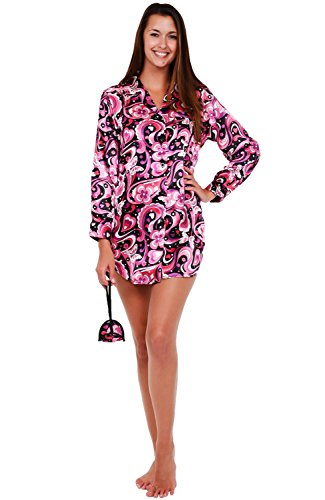 Del Rossa Womens Satin Nightshirt, Boyfriend Style Sleepshirt with Mask, Small 70s Pink on Black (A0746P92SM)