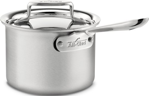 (All-Clad BD55202 D5 Brushed 18/10 Stainless Steel 5-Ply Bonded Dishwasher Safe Sauce Pan Cookware, 2-Quart, Silver)