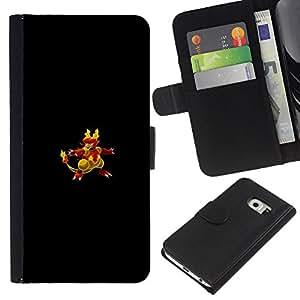 Protector de cuero de la PU de la cubierta del estilo de la carpeta del tirón BY RAYDREAMMM - Samsung Galaxy S6 EDGE - Flaming empuje Pato