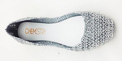 Chimie Femmes Facile Zig Zag Tissage Tissé Confortable Candy Slip-on Gelée Baller Plat (4 Couleurs) Argent