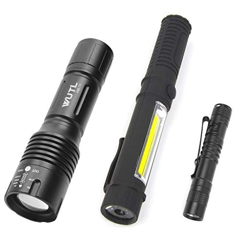 Tactical Led Flashlight Pocket Mini Torch Small COB Work Light Multi Function Flashlight Combo Pack Ultra Compact Size
