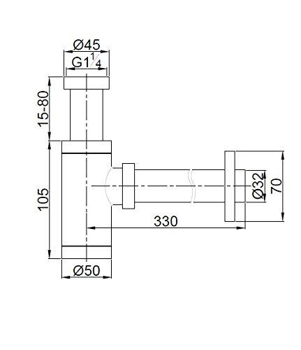 Siphon design pour lavabo vasque en Laiton Chrom/é,1-1//4