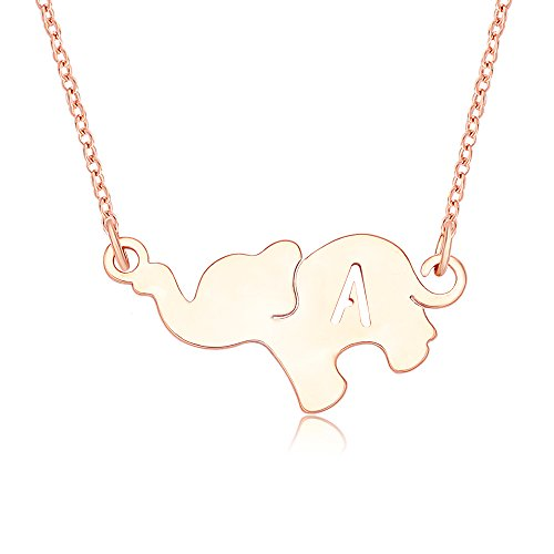 TUSHUO Rose Gold Plated Hollow 26 Letters Elephant Pendant Necklace Elephant Jewelry for Best Friends (A) ()