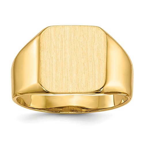 Personalized Tapered Ring (Roy Rose Jewelry 14K Yellow Gold Mens Tapered Square Signet Ring FREE Custom Personalized Engraving with 3 Letter Monogram)
