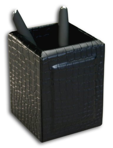 Crocodile Leather Pencil Cup - Dacasso Black Crocodile Embossed Leather Pencil Cup