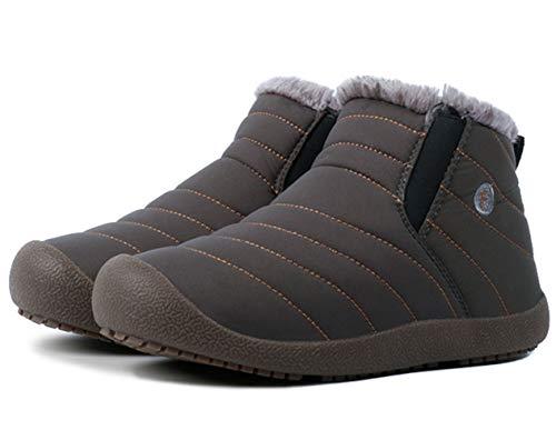 Women Lined Slip On Boots Outdoor Men Snow Gray Anti Fur Waterproof DADAWEN Slip Ankle zEwq65F