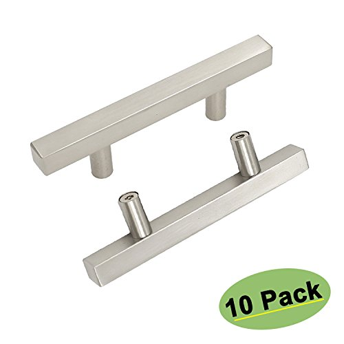 Square Desk Drawer Dresser Pulls Stainless Steel - Homdiy HD1212BSS 2-1/2inch Center to Center Stainless Steel Contemparary Kitchen Wine Shoe Cabinet Door Hardware Handles Knobs 10 Pack ()