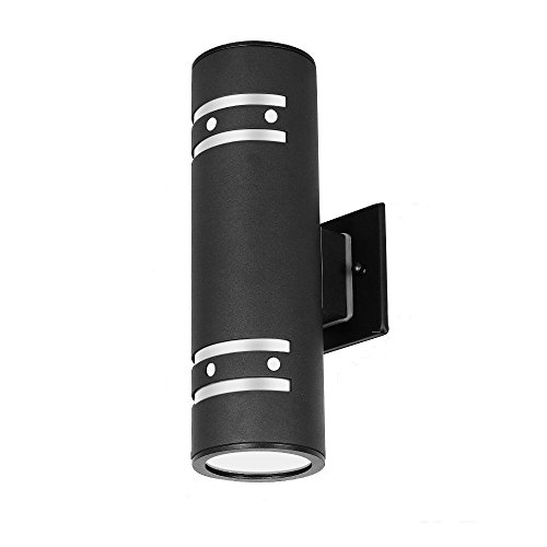 Lamp Modern Wall Sconce Outdoor Light Fixture Black Aluminum material,Toughened Glass,E27,Waterproof,UL Listed ()