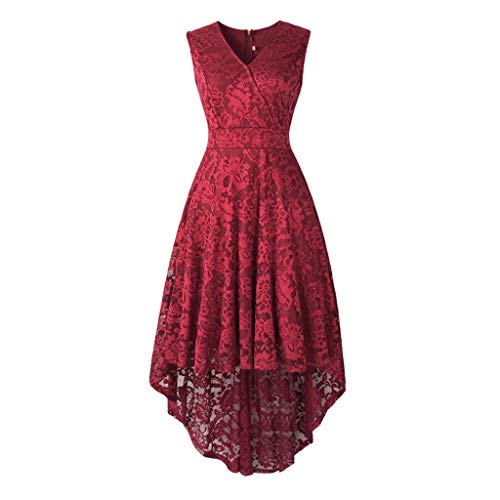 iQKA Women Sleeveless V Neck Mini Dress Vintage Lace Solid Vintage Country Rock Cocktail Dress Vestido Red -