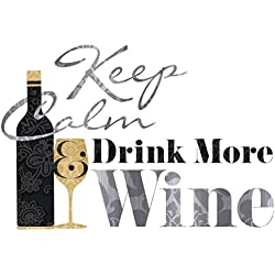 Lunarland KEEP CALM and DRINK MORE WINE BiG Wall Quote Decals Bottle Room Decor Stickers
