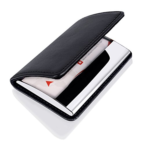 MaxGear Professional Business Card Holder for Women and Men, Genuine Leather Business Card Case Holder for Work, Stainless Steel Card Case for Business Card, Credit Card, ID Card Stainless Leather SPW