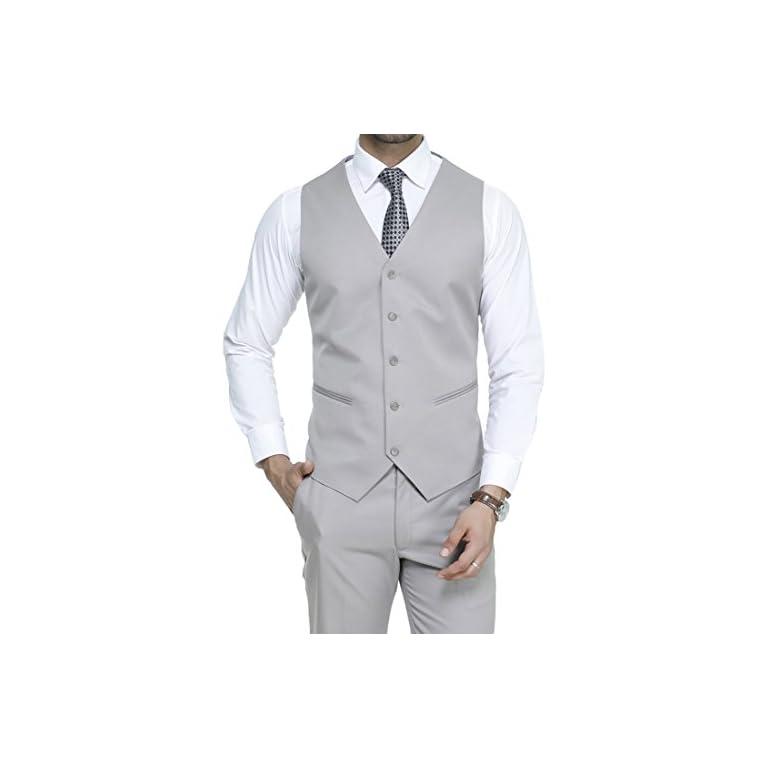 41MHT3HvshL. SS768  - MANQ Men's V.Neck Five Button Slim Fit Formal/Party Waist Coat
