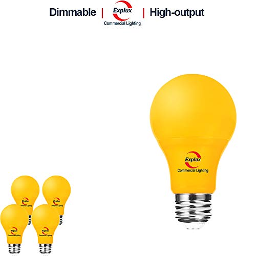 Explux Dimmable Yellow Color LED A19 Bulbs, High-Output Version, Bug Light, 60W Equivalent, 4-Pack