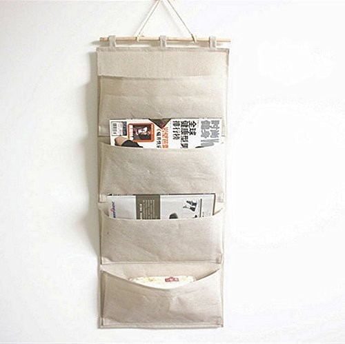 Fabric Wall Door Closet Hanging Storage Bag Case 4 Pocket