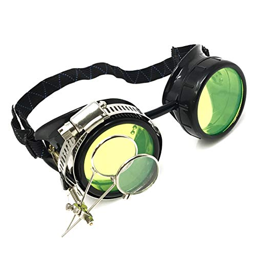Steampunk Victorian Goggles Rave Glasses, Sleek and Stylish Industrial, Neon Green Lenses, Double Clip on Eye Loupe