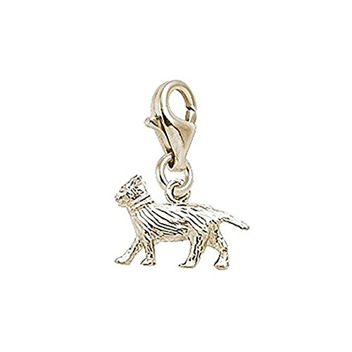 14K Yellow Gold Cat Charm With Lobster Claw Clasp, Charms for Bracelets and Necklaces (Gold Cat Yellow Charm)
